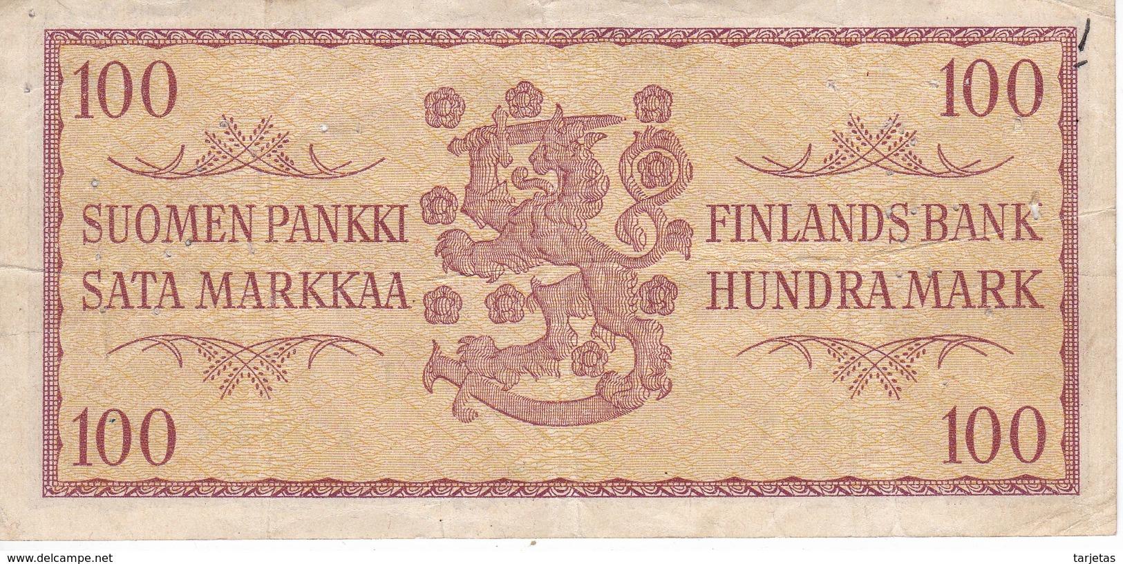 BILLETE DE FINLANDIA DE 100 MARKKAA DEL AÑO 1957  (BANKNOTE)(puntos De Aguja) - Finlandia