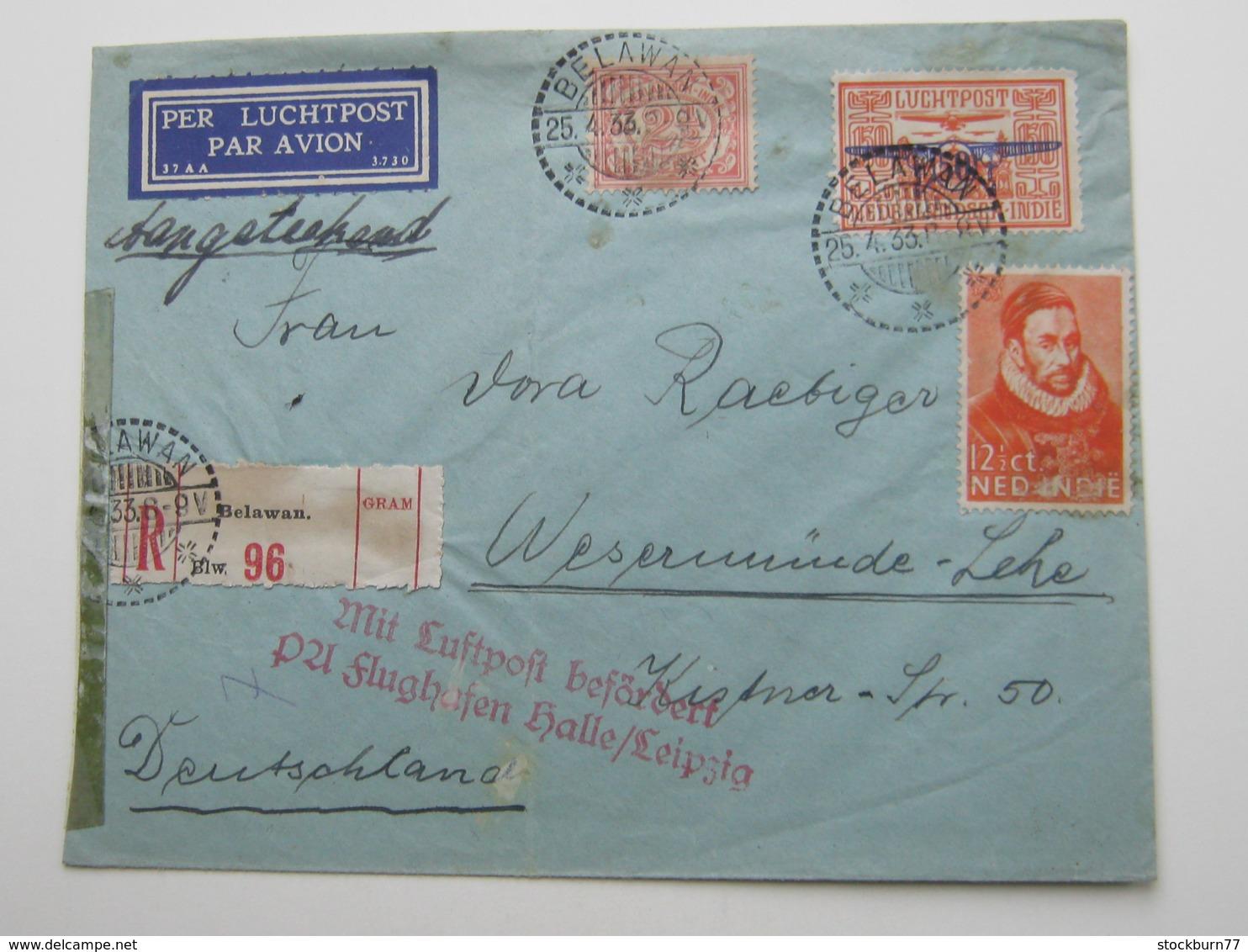 1933 , Einschreiben  Nach Deutschland - Niederländisch-Indien