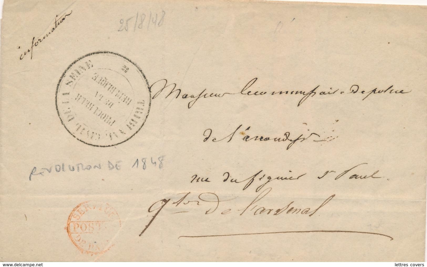 """Cachet """" TRIBUNAL CIVIL DE LA SEINE / PROCUREUR DE LA REPUBLIQUE """" ( Sénéchal 4970 ) REVOLUTION 1848 Sur Lettre - 1801-1848: Precursors XIX"""