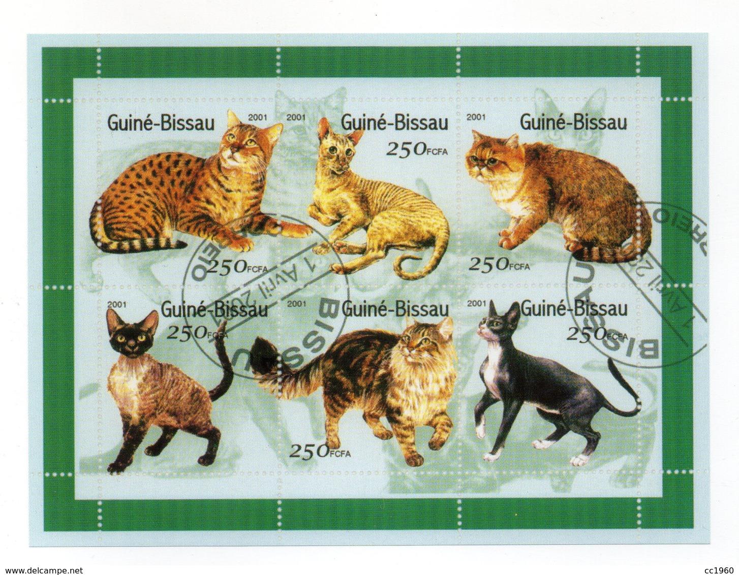 """GUINEA BISSAU - 2001 - Foglietto Tematica """" Animali - Gatti """" - 6 Valori - Con Doppio Annullo - Vedi Foto - (FDC13550) - Guinea-Bissau"""