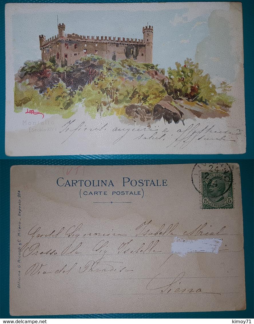 Cartolina Castello Montalto. (Illustrata Litografata Firmata). Viaggiata Primi 900 - Viterbo
