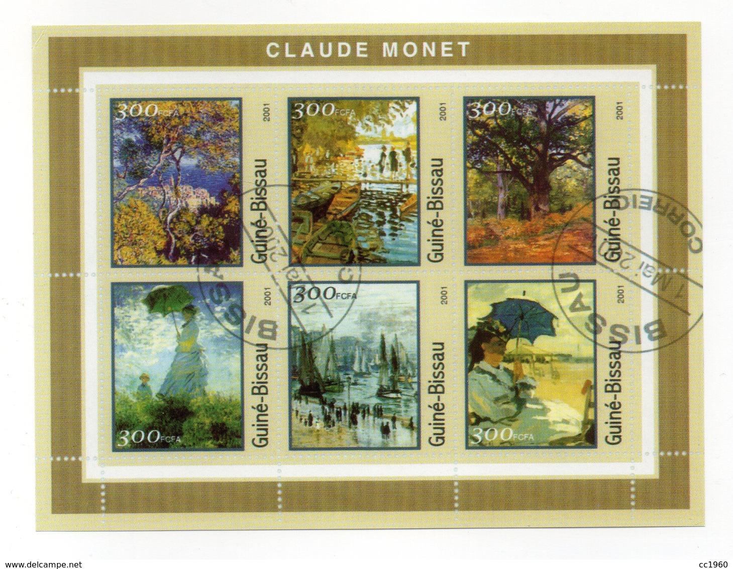 GUINEA BISSAU - 2001 - Foglietto Tematica  Arte - Claude Monet - 6 Valori - Con Doppio Annullo - (FDC13555) - Guinea-Bissau