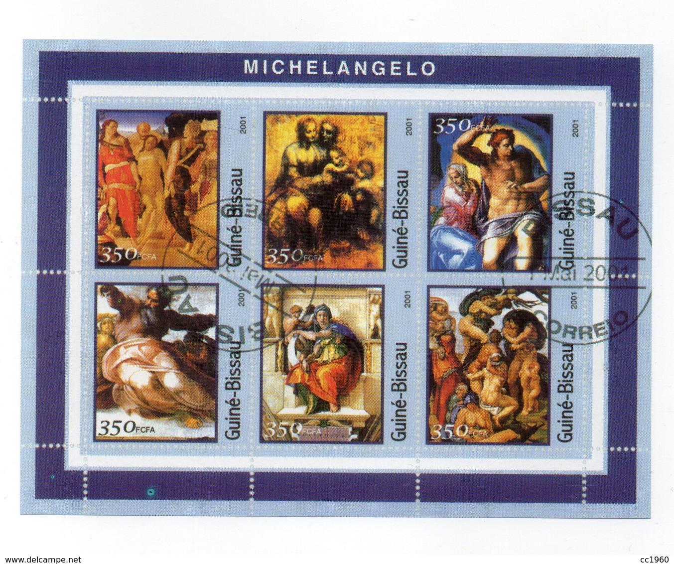 GUINEA BISSAU - 2001 - Foglietto Tematica  Arte - Michelangelo - 6 Valori - Con Doppio Annullo - (FDC13559) - Guinea-Bissau