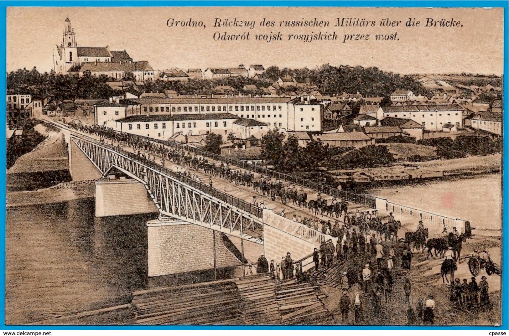 CPA AK Biélorussie BELARUS - GRODNO - Rückzug Des Russischen Militärs über Die Brücke...(Armée Russe Russia) - Belarus