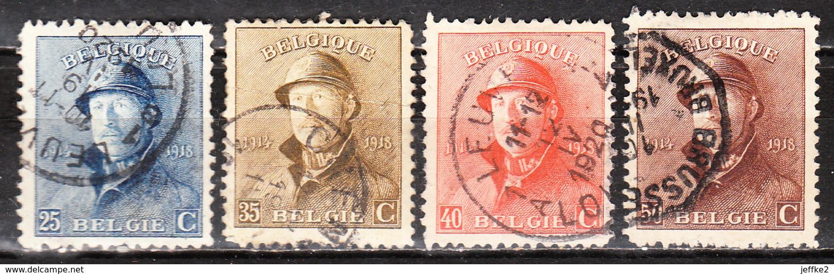 171/74  Roi Albert Casqué - 4 Bonnes Valeurs - Oblit. - LOOK!!!! - 1919-1920 Roi Casqué