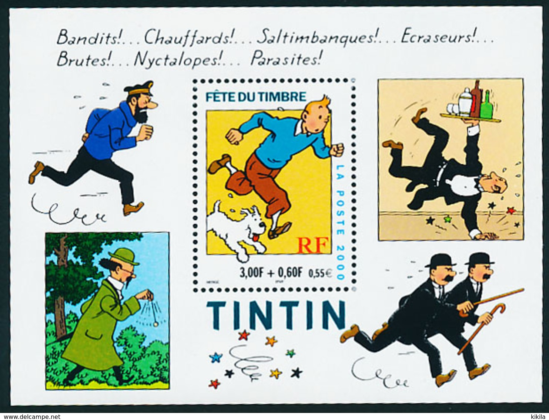Timbre FRANCE Neuf  Bloc Feuillet  Fête Du Timbre 2000 TINTIN Et Milou  Illustrateur Hergé  Capitaine Haddock - Blocs & Feuillets