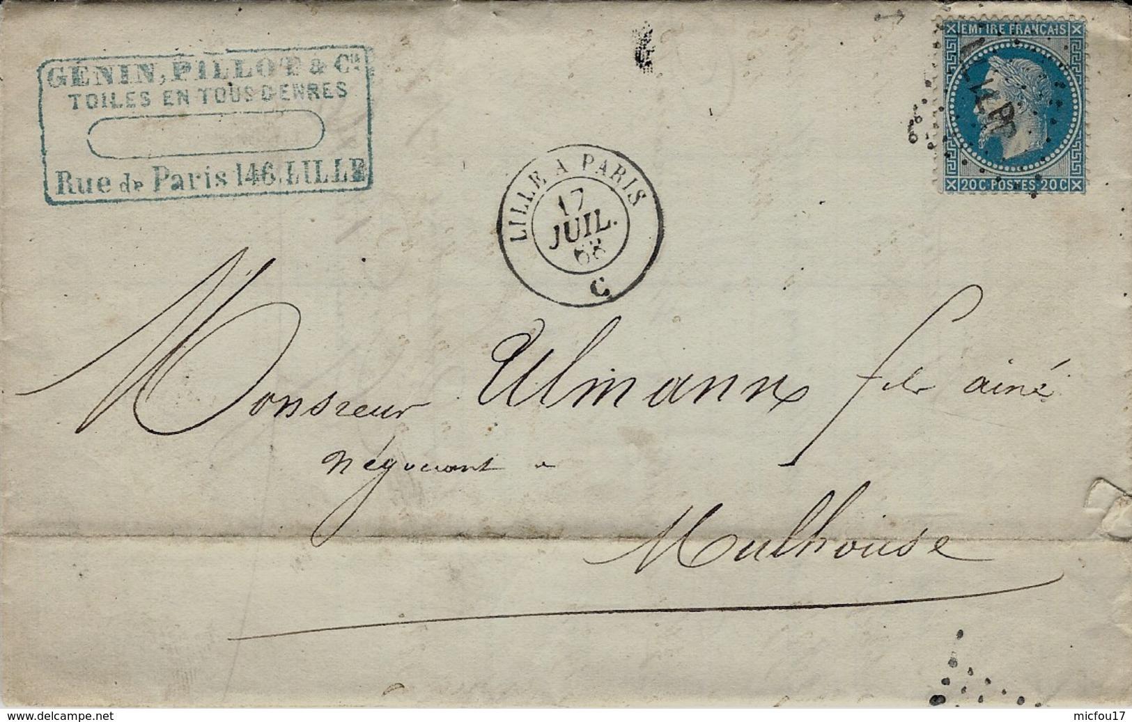 1868- Lettre De LILLE ( Nord ) Cad AMB.  LILLE A PARIS  C  Affr. N°29 Oblit. Los. LIL P - Marcophilie (Lettres)