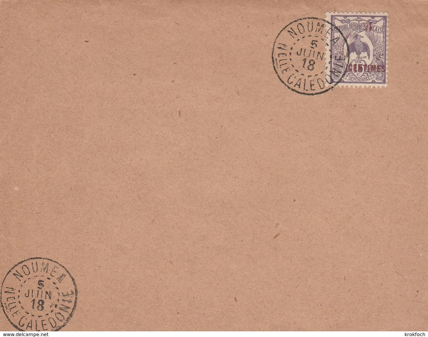 Nouméa 1918 Nelle Calédonie - Cagou Surchargé - !!! Grand Fragment Ou Devant De Lettre Seul - Neukaledonien