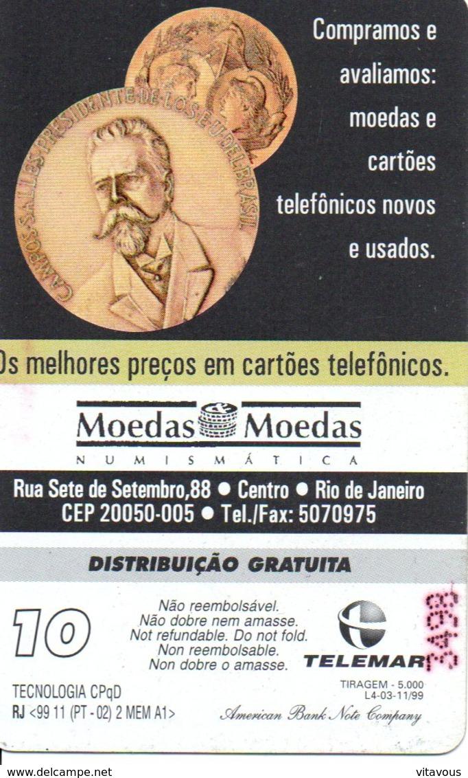 Rare Télécarte Brésil 5 000 Exemplaires  - Monnaie Money Pièce Numismatique Médaille  Bank Banque   Phonecard  (G 644) - Brésil