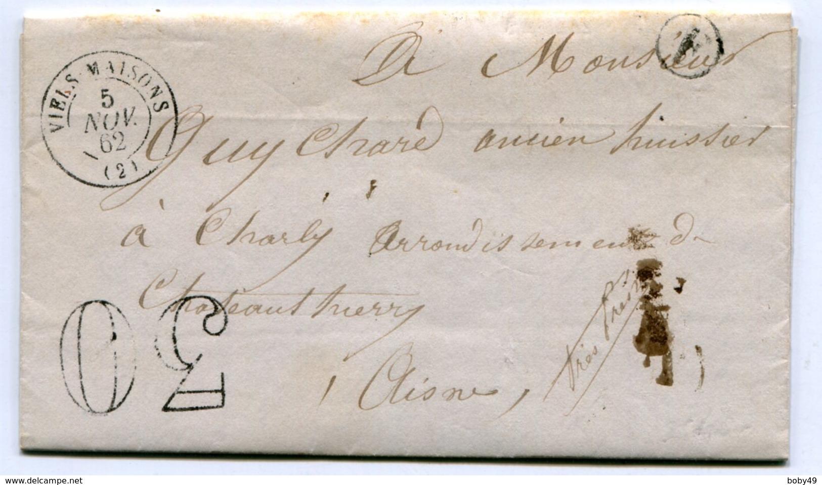 AISNE De ESSISES LAC Du 04/11/1862 Boîte Rurale F + Dateur T 15 De VIELS MAISONS + Taxe Tampon De 30 - Postmark Collection (Covers)