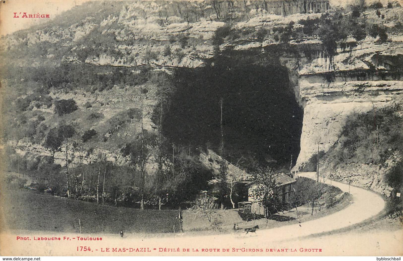 CPA 09 ARIEGE Lot 4 Cartes Grottes Du Mas D'Azil (intérieur Grotte, Entrée, Sortie, Défilé De La Route De St Girons) - Francia
