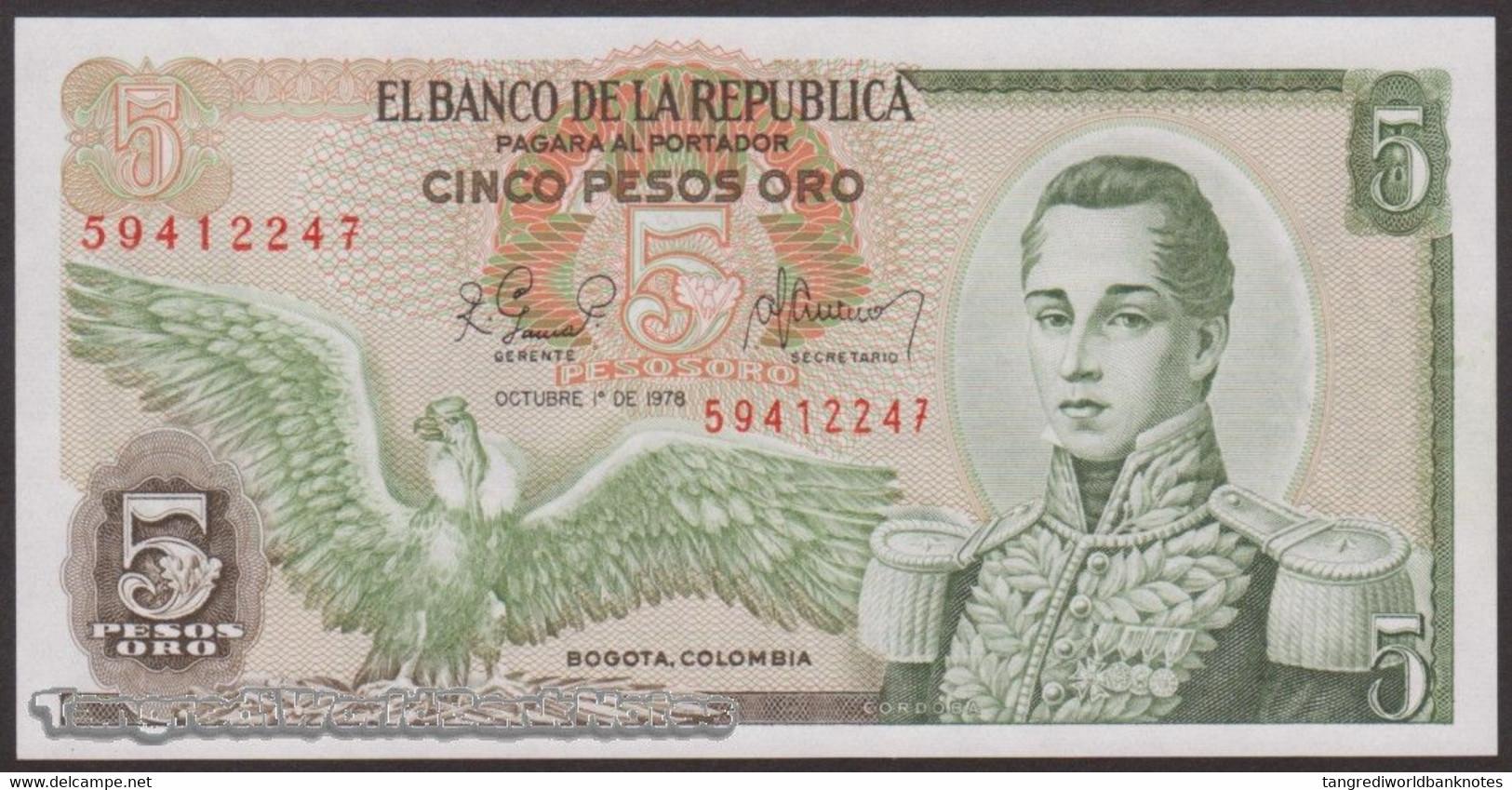 TWN - COLOMBIA 406f1 - 5 Pesos Oro 1.10.1978 AU/UNC - Colombie