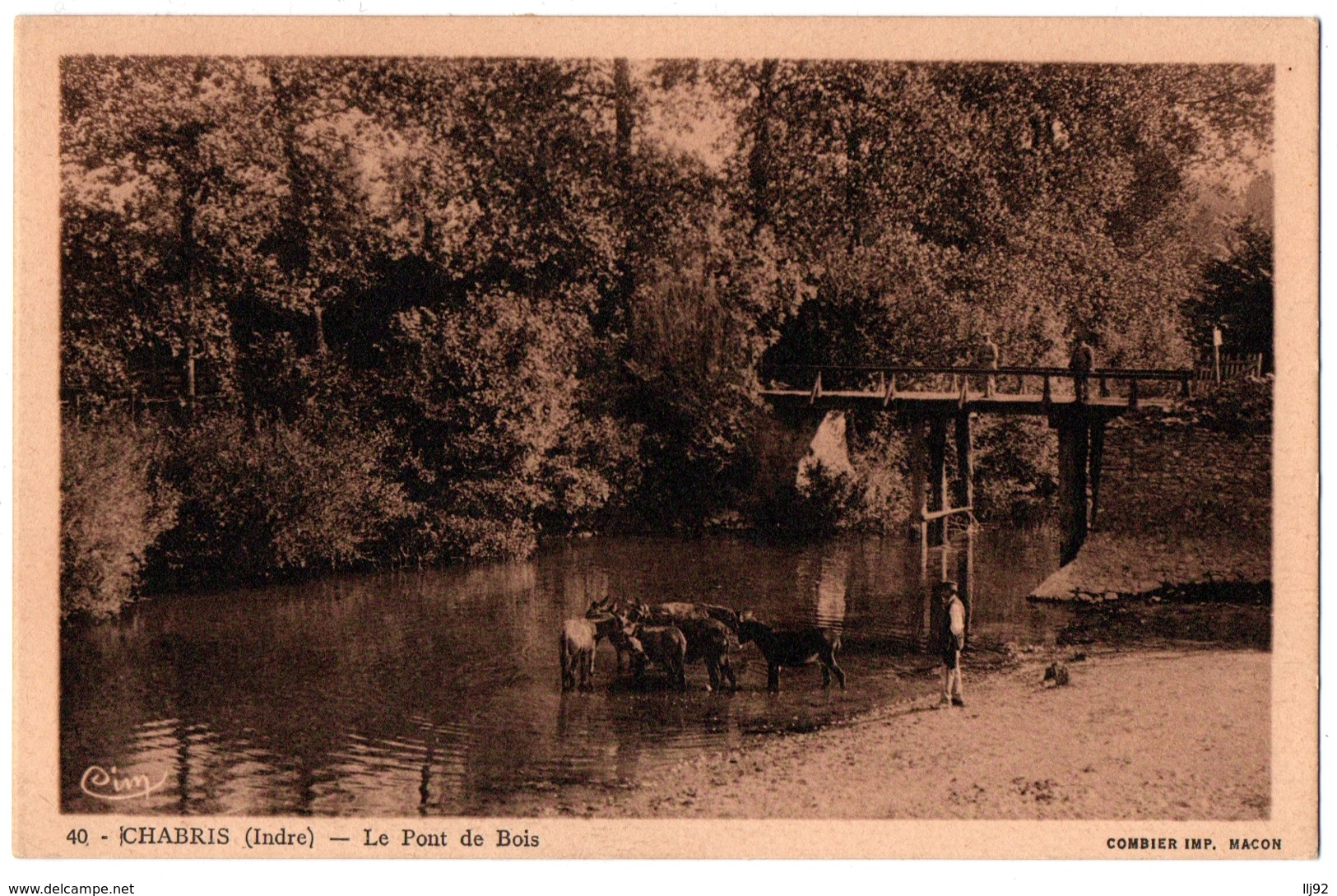 CPA 36 - CHABRIS (Indre) - 40. Le Pont De Bois (troupeau D'ânes) - France