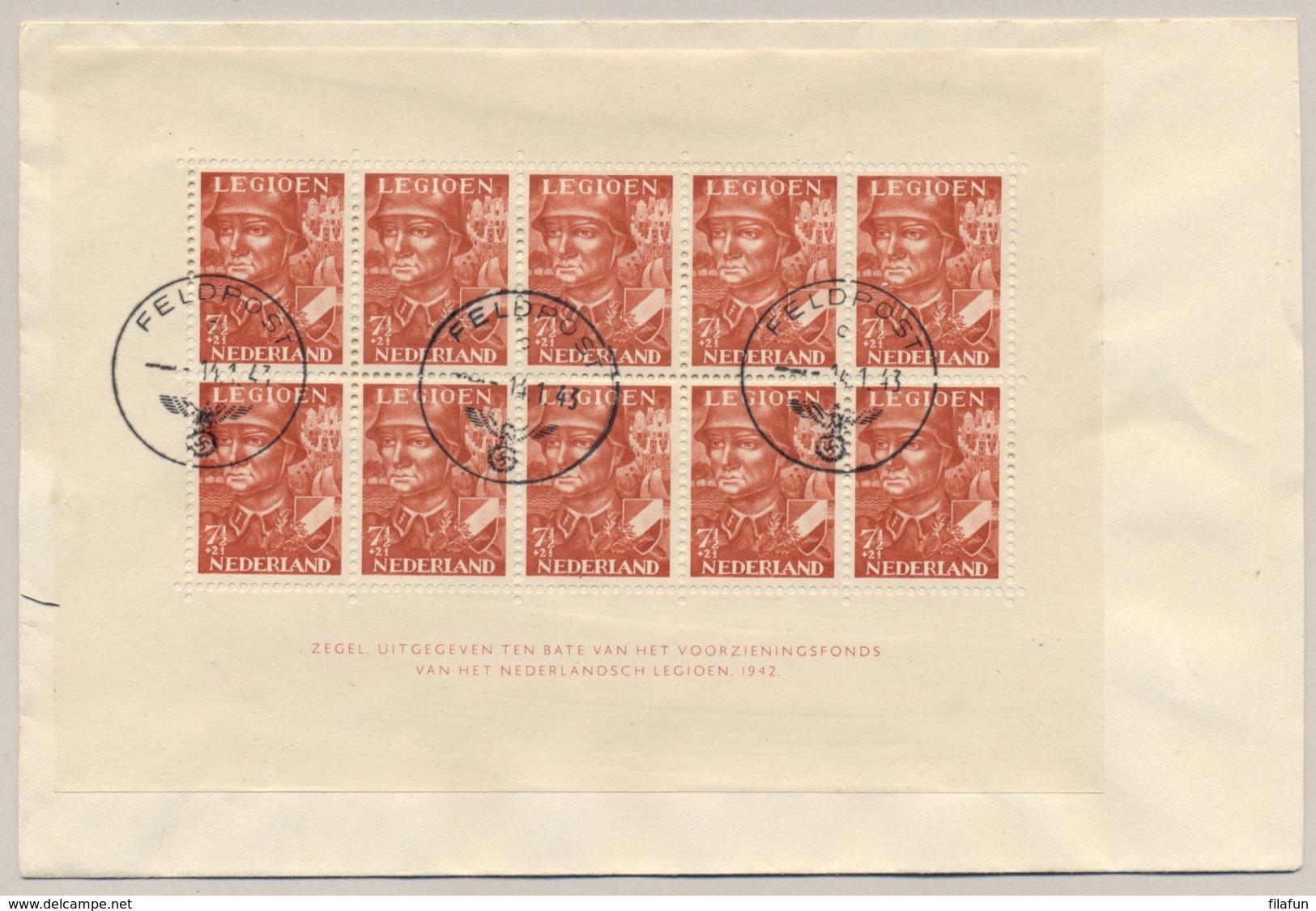 Nederland - 1943 - 10x 7,5 Cent Legioenblok Op R-cover Met Feldpost Stempel Naar Angersdorf / Deutschland - Periode 1891-1948 (Wilhelmina)