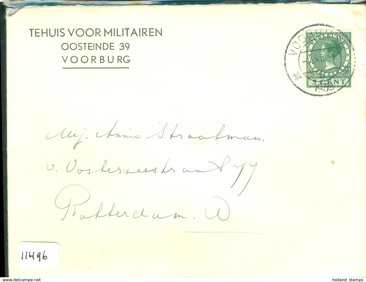 HANDGESCHREVEN BRIEF Uit 1939 Van TEHUIS VOOR MILITAIREN TE VOORBURG Naar ROTTERDAM     (11.496) - Periode 1891-1948 (Wilhelmina)