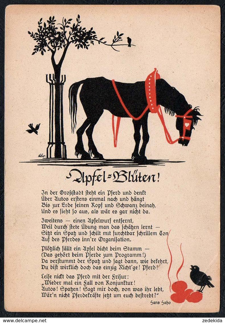 C1084 - Hans Hoffmann Köln Glückwunschkarte Pferd - Liedkarte - Silhouettes