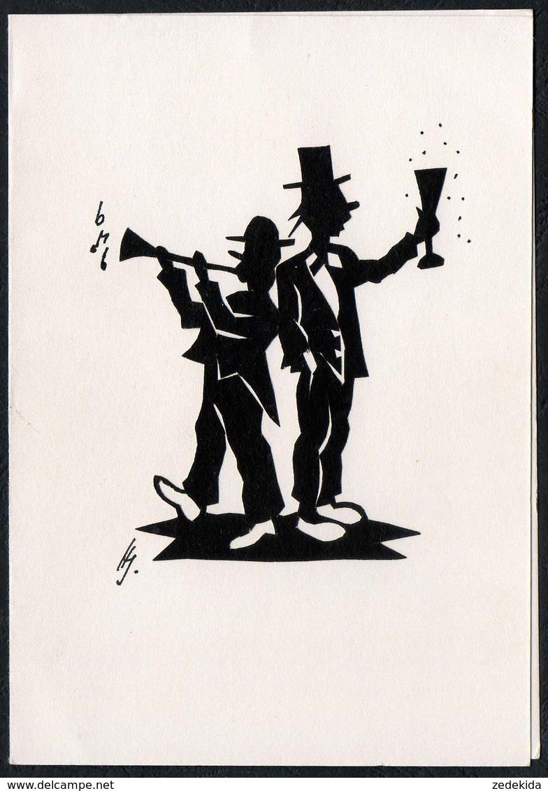 C1085 - Orig. Scherenschnitt - Clown - Klappkarte - Silhouettes