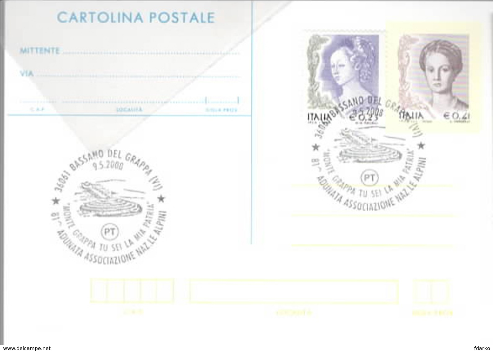 81ª Adunata Alpini Bassano Del Grappa Vicenza 9-05-2008 ANA Cartolina Postale - Manovre