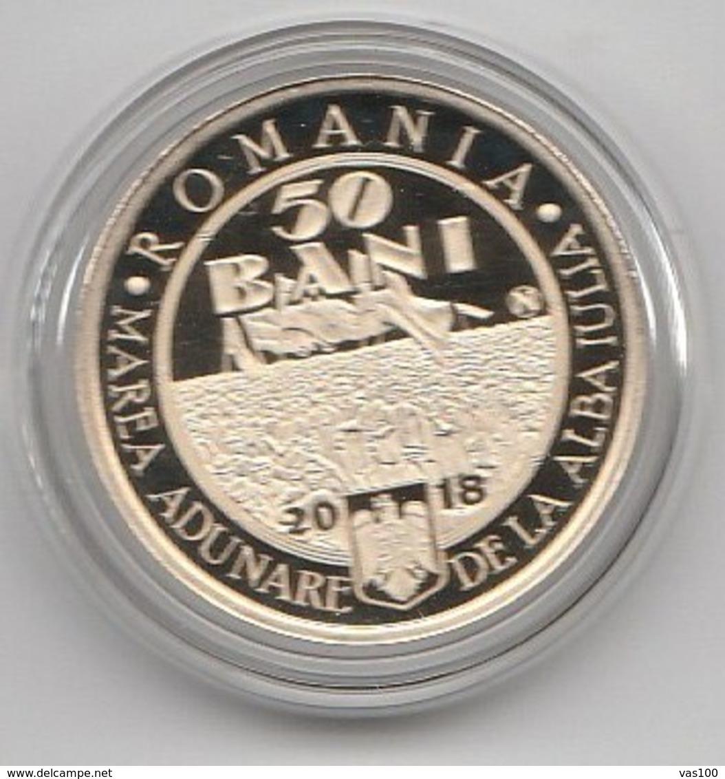 ROMANIA -2018- 50 BANI - COMMEMORATIVE COINS - 100 Years Since The Union Of TRANSYLVANIA With Romania PROOF (Rare) - Roumanie