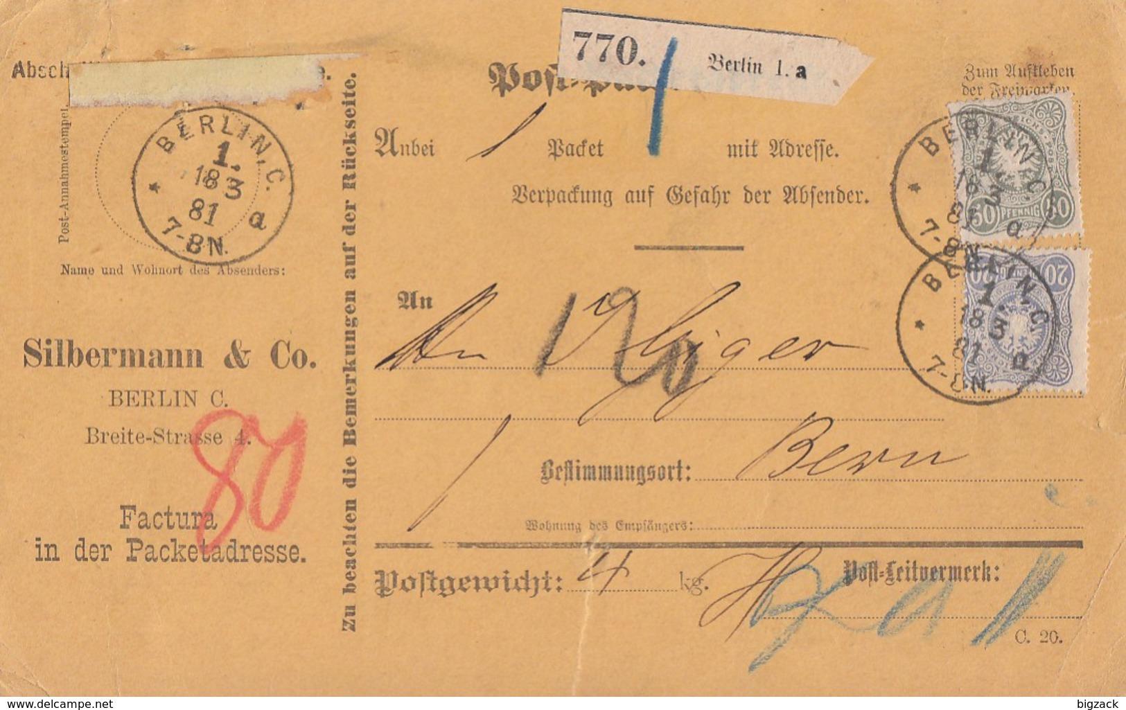 DR Paketkarte Mif Minr.41ZW Unten,42,44 Berlin 18.3.81 Gel. In Schweiz - Deutschland