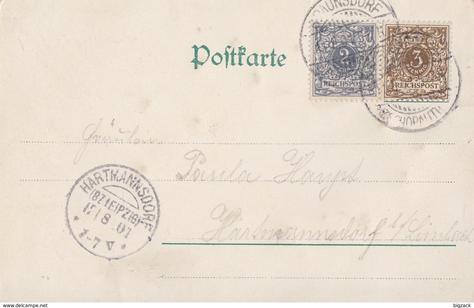 DR Glitzerkarte MifMinr.45,52 Ankunftsst. KOS Hartmannsdorf (Bz. Leipzig) 12.8.01 - Deutschland