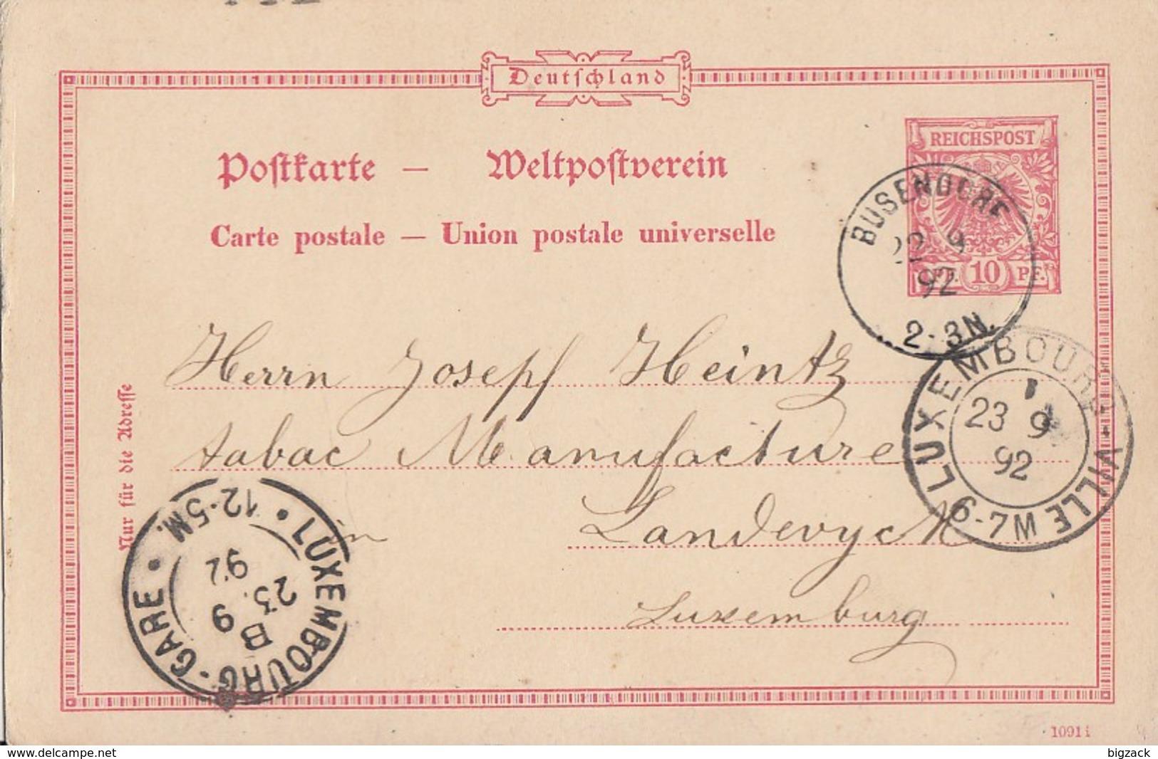 DR Ganzsache K1 Busendorf 22.9.92 Gel. Nach Luxembourg - Deutschland