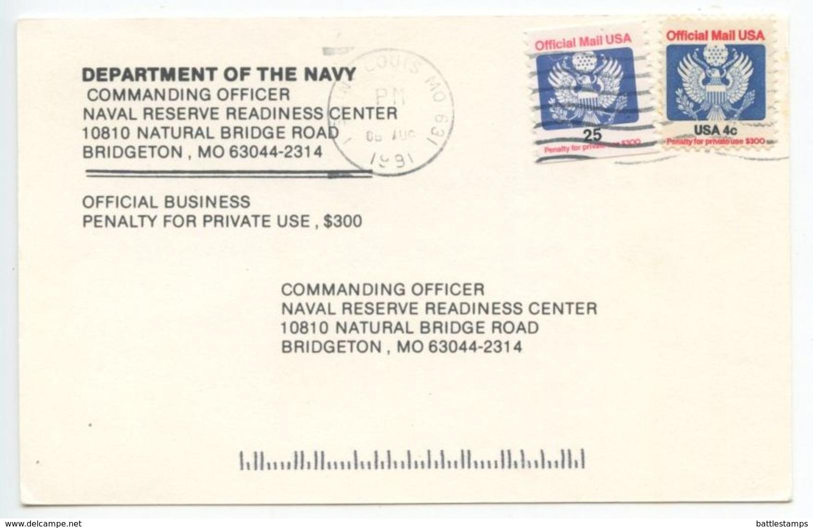 United States 1991 Official Postcard St Louis MO To Bridgeton MO, Sc O141 & O128 - Lettres & Documents