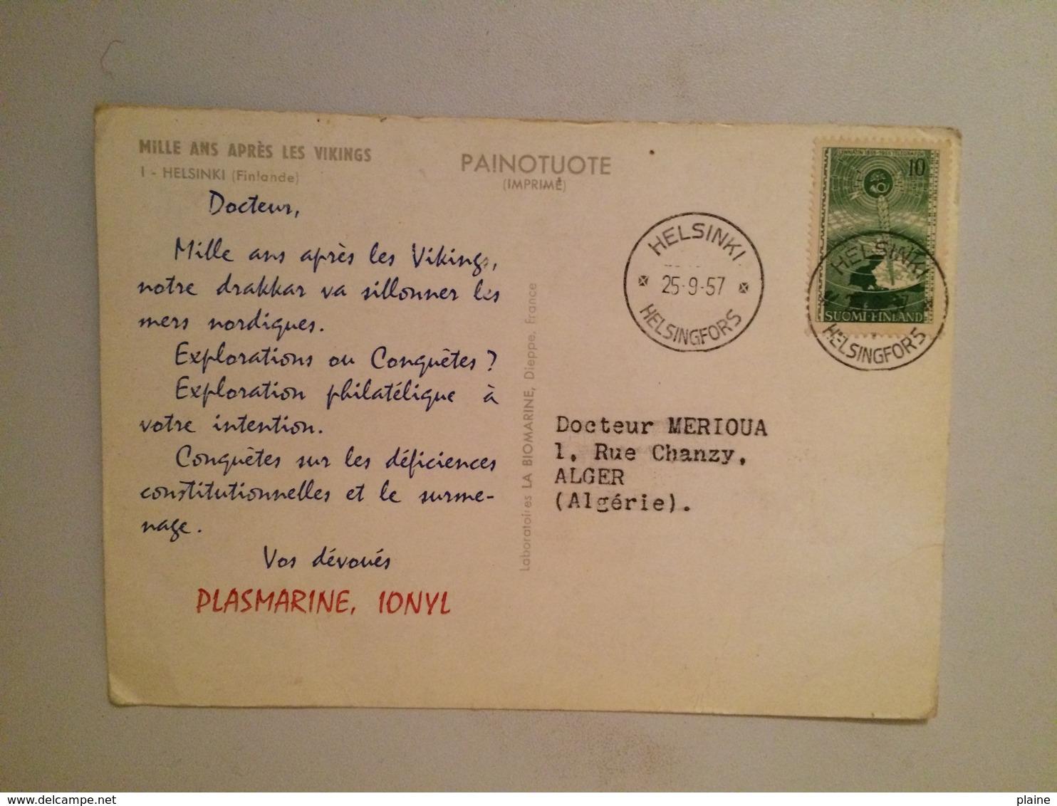 CARTE POSTALE FINLAND-HELSINKI-MILLE AN APRES LES VIKINGS -PUBLICITE IONYL-1957 - Finlande
