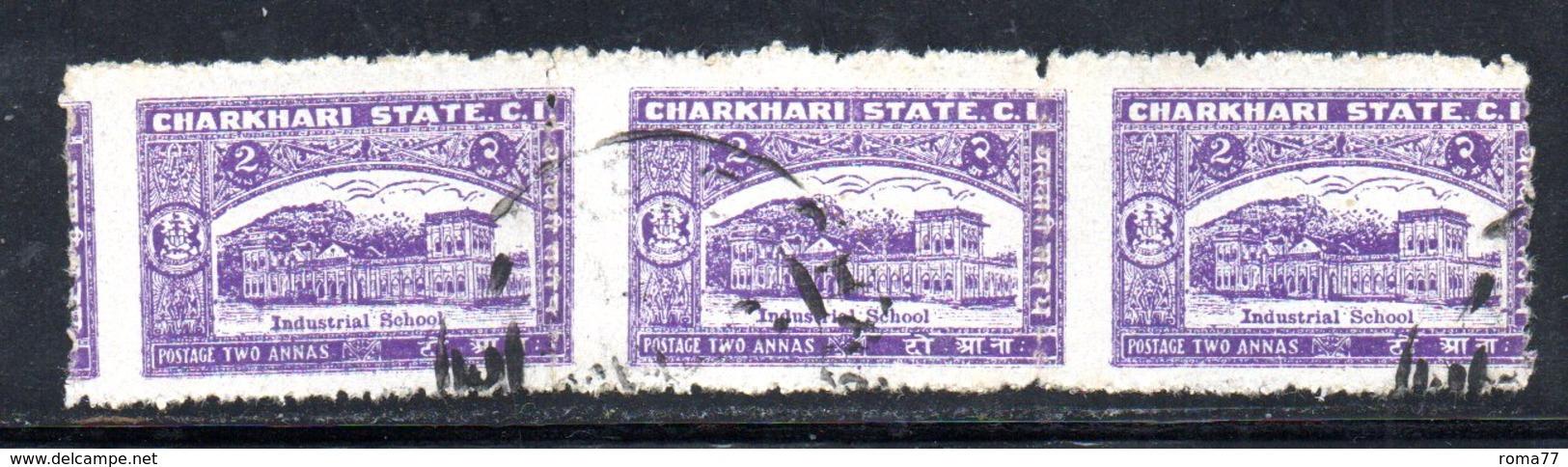 W1709 - CHARKHARI INDIA ,  2 Anna : Striscia Ripiegata Di Tre Usata - Charkhari