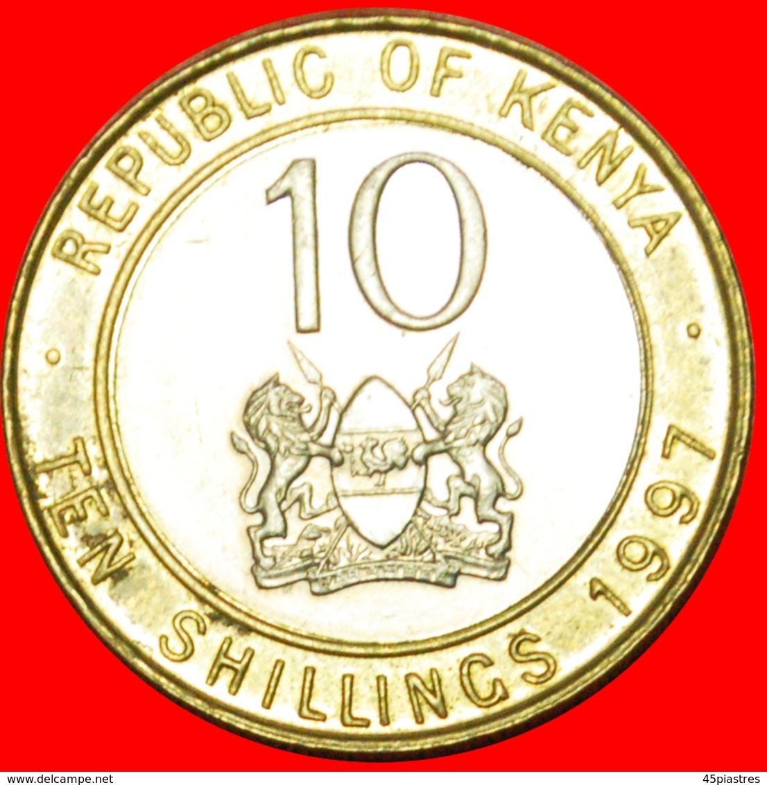 # COCK AND LIONS (1994-1997): KENYA ★ 10 SHILLINGS 1997 MINT LUSTER! LOW START ★ NO RESERVE! - Kenya