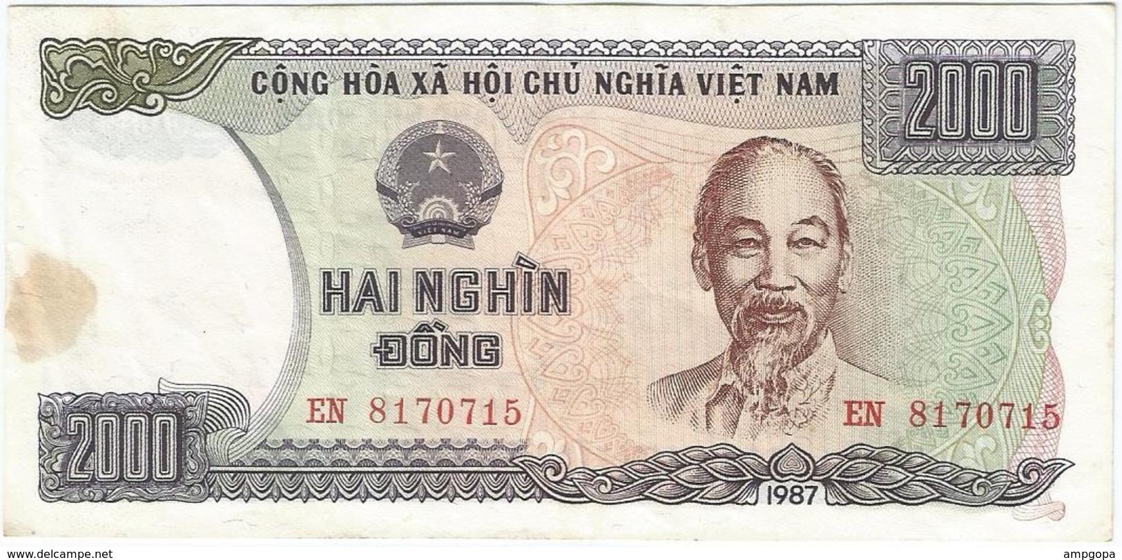 Vietnam 2.000 Dong 1987 Pick 103a RARO Ref 1 - Vietnam
