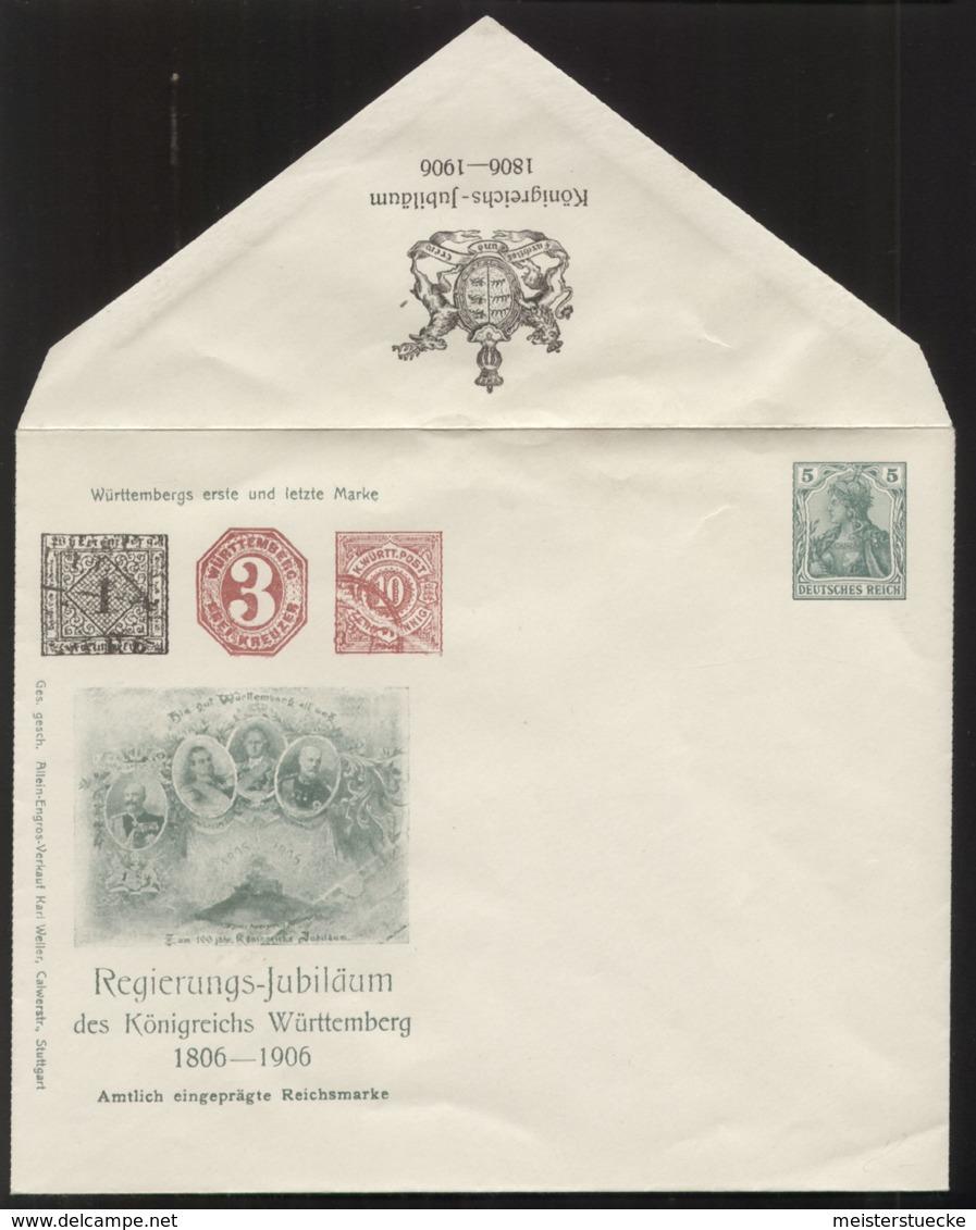 Dt. Reich - Privatganzsache/Umschlag PU 26 C 3 - Regierungs-Jubiläum Des Königreichs Württemberg 1806-1906 - Ungebraucht - Entiers Postaux