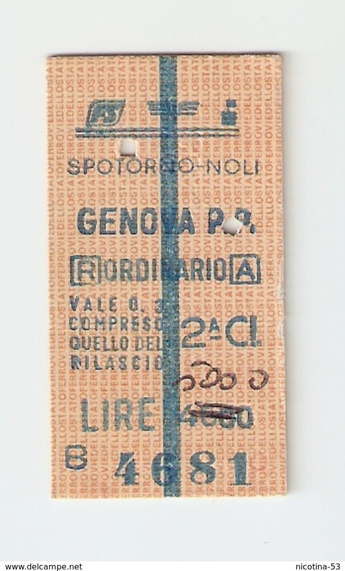BIGL--00032-- BIGLIETTO FERROVIE DELLO STATO-ANDATA E RITORNO ORDINARIO 2 CLASSE-SPOTORNO NOLI-GENOVA- 24-5-1988 - Biglietti Di Trasporto