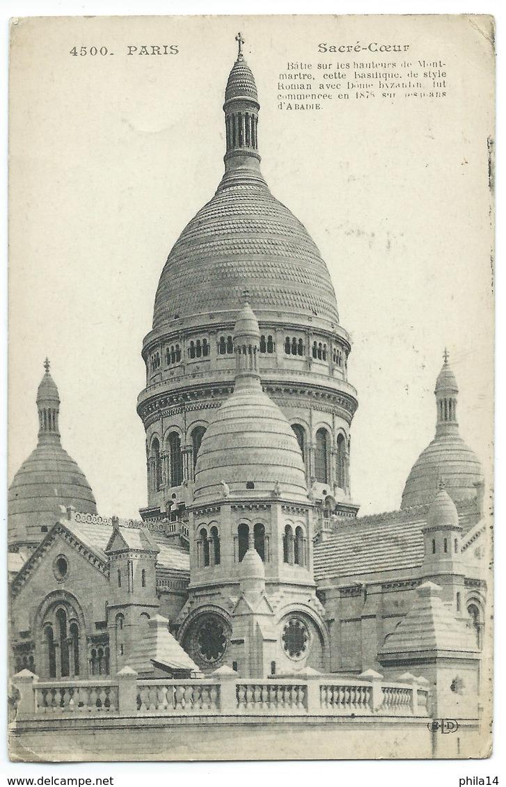 CARTE POSTALE / PARIS SACRE COEUR / 1912 / CACHET MILITAIRE TOULOUSE GARE - Sacré Coeur