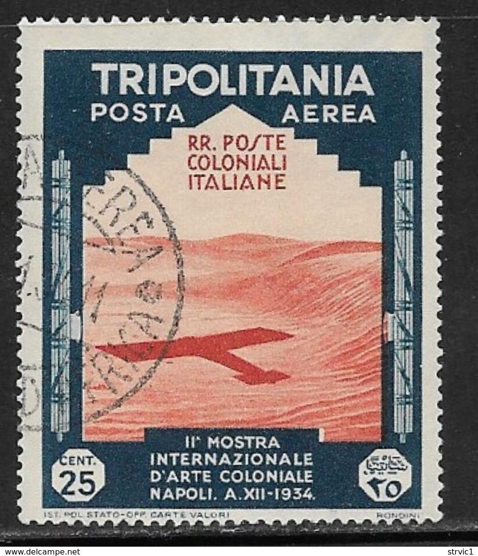 Tripolitania, Scott # C43 Used Plane Shadow On Desert, 1934 - Tripolitania