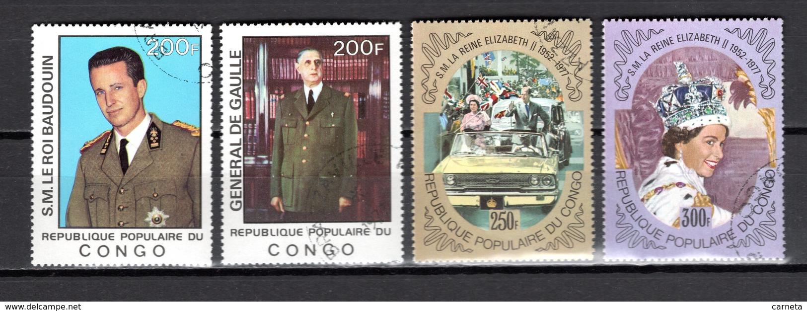 CONGO   N° 476 à 479  OBLITERES  COTE  3.50€  GENERAL DE GAULLE   REINE  ROI - Congo - Brazzaville