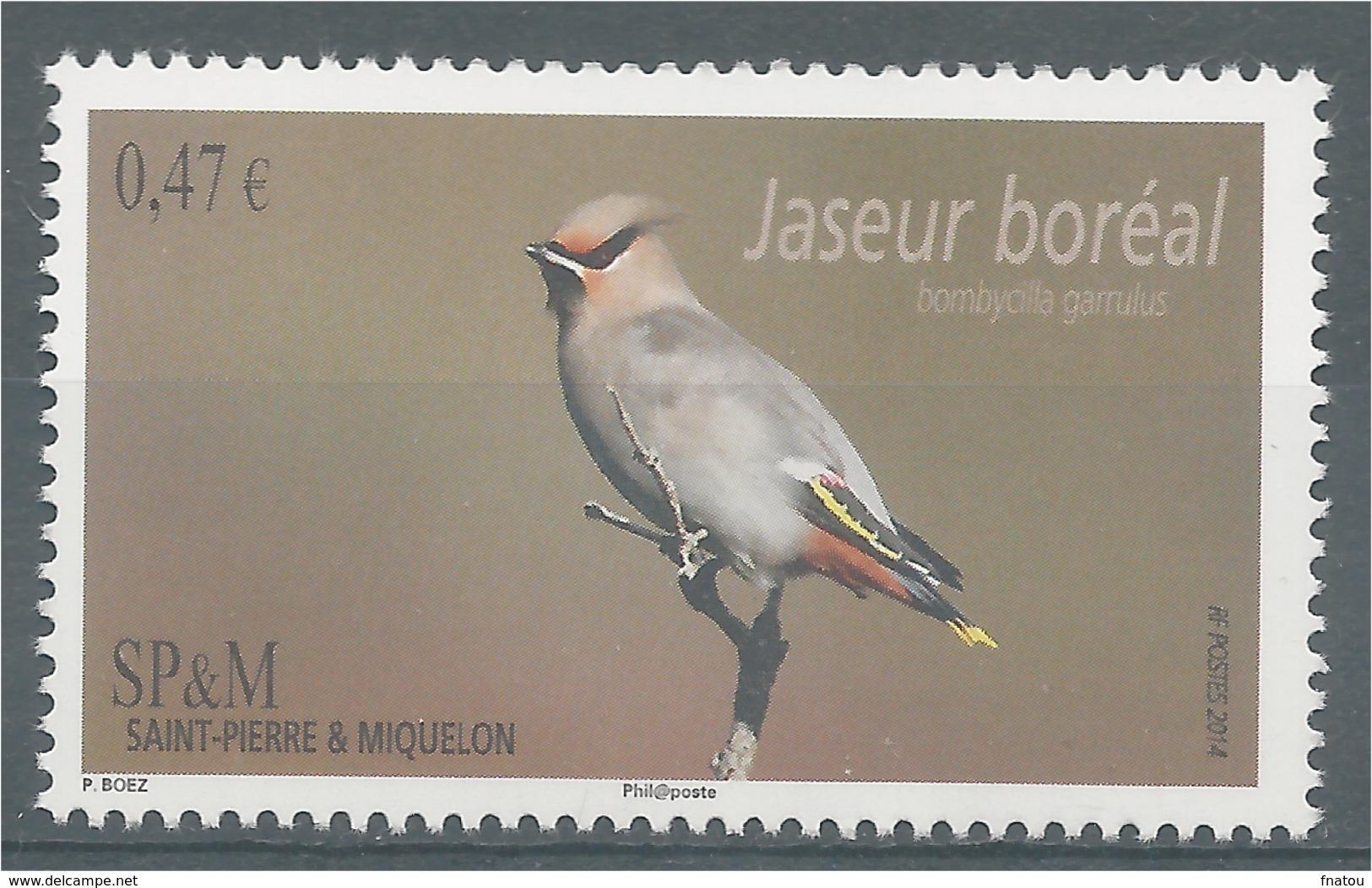 Saint Pierre And Miquelon, Bird, Bohemian Waxwing, 2014, MNH VF - St.Pierre & Miquelon