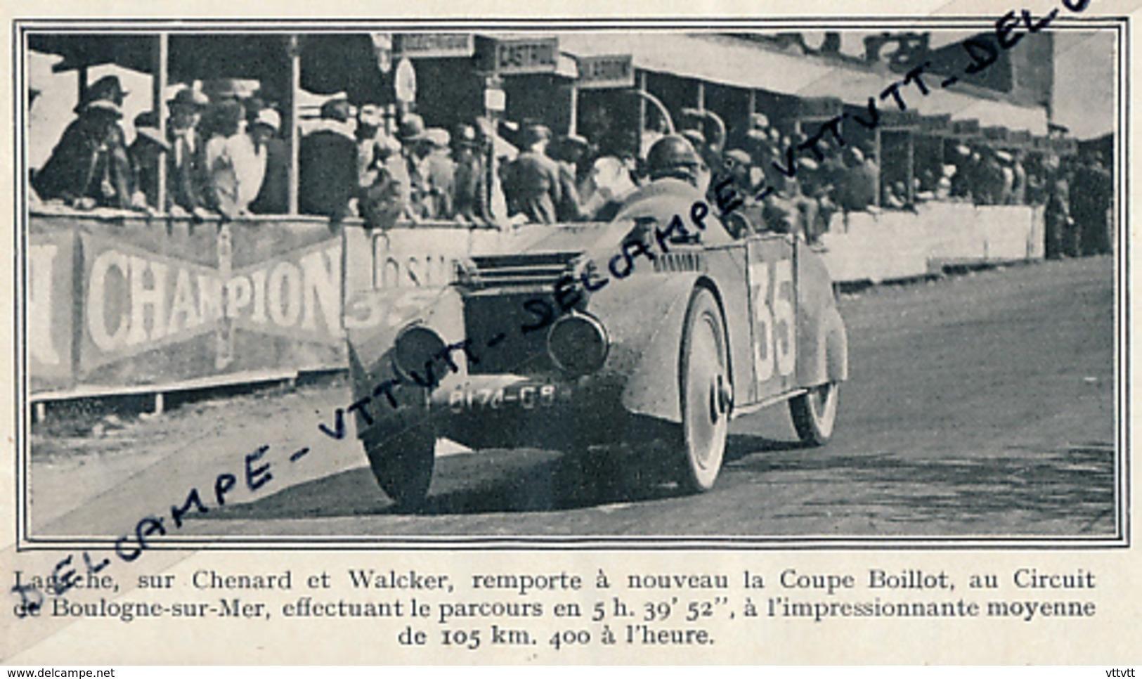 1926 : BOULOGNE-SUR-MER, Lagache Sur Chenard Et Walcker Remporte La Coupe Boillot, Voiture - Collections