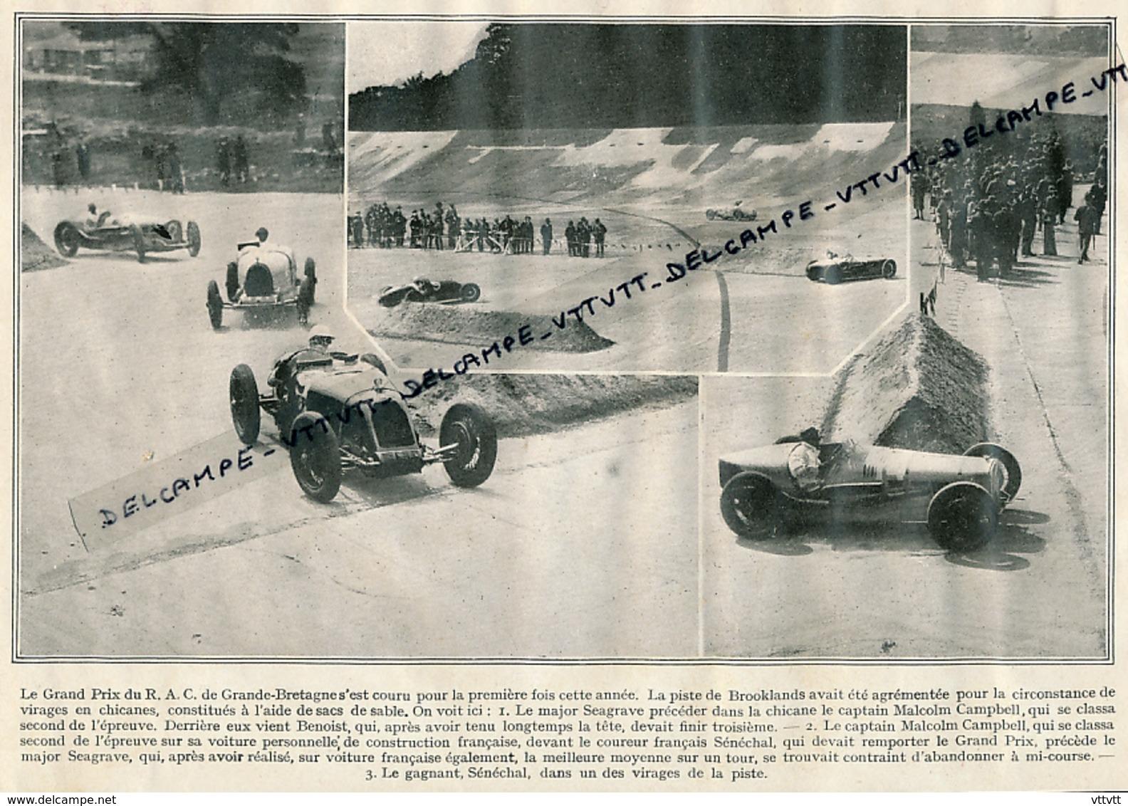 1926 : BROOKLANDS, Grand Prix Du R.A.C. De Grande-Bretagne, Sénéchal Le Vainqueur, Malcom Campbell, Benoist, Seagrave - Collections