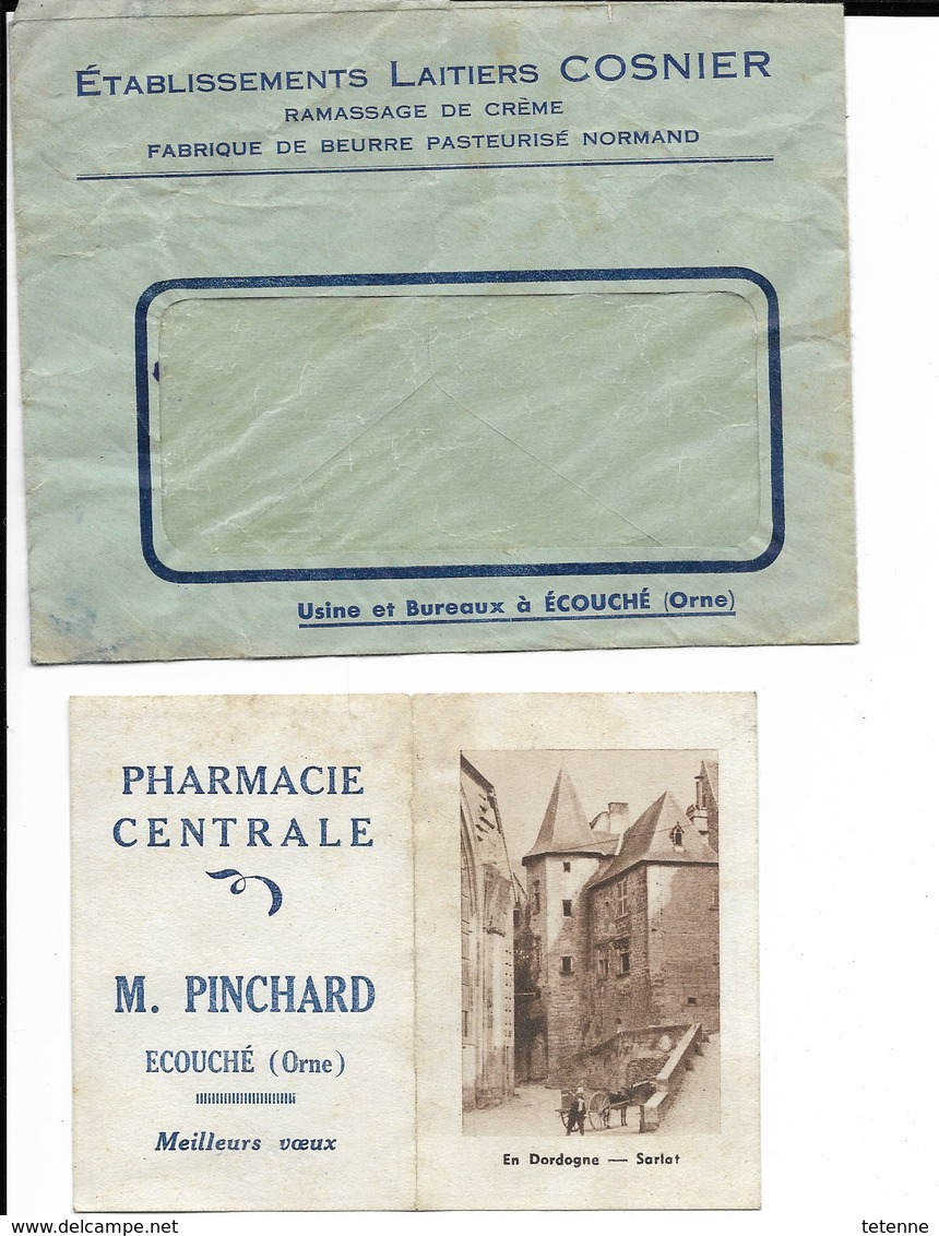 Enveloppe Plus Calendrier 1949 Ecouché 61 Pharmacie Pinchard (sarlat) - Calendriers