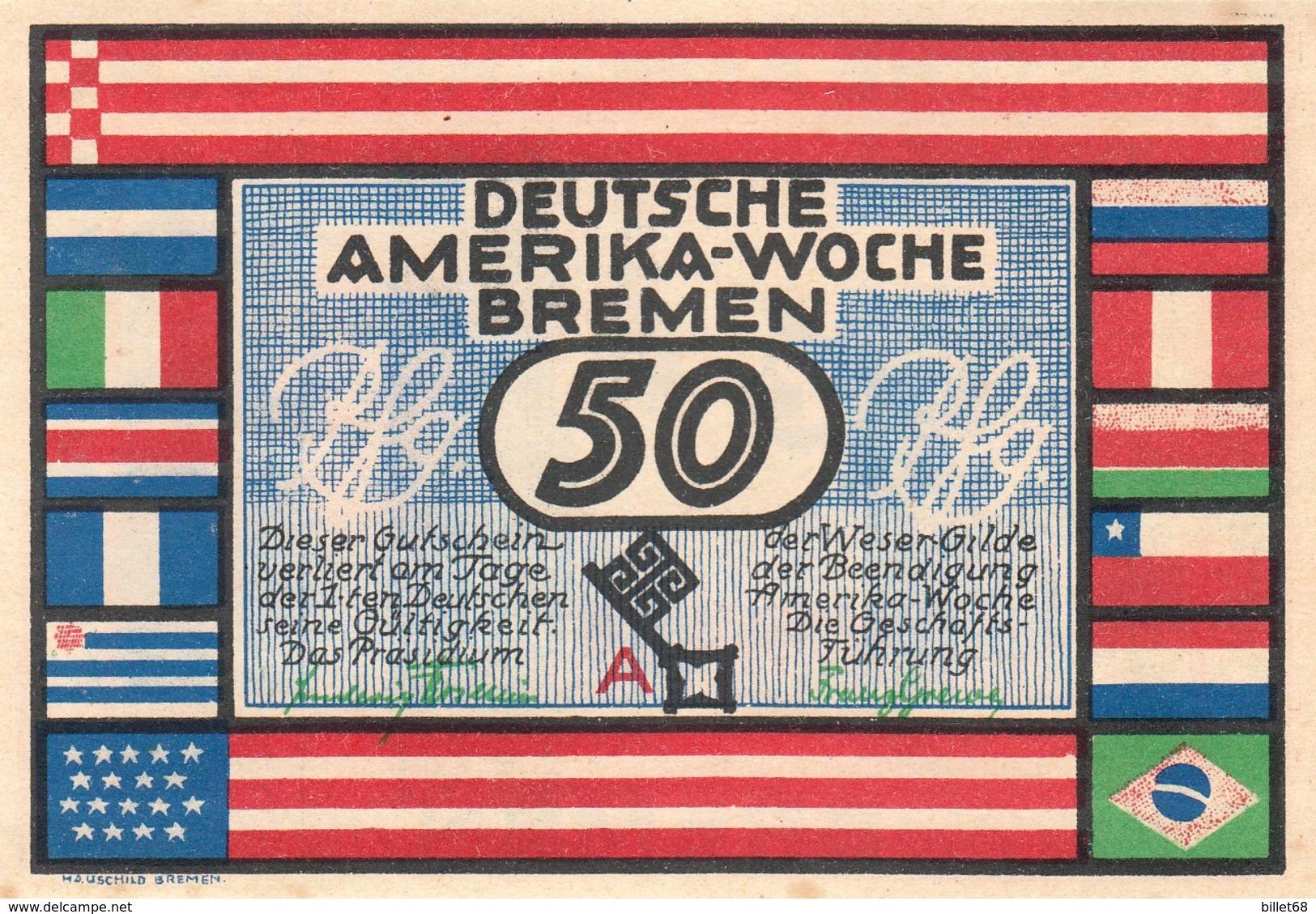 Billet Allemand - 50 Pfennig - Bremen 1923 - Deutsche Amerika Woche - [11] Local Banknote Issues