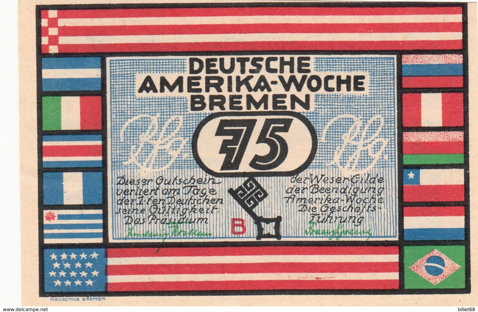 Billet Allemand - 75 Pfennig - Bremen 1923 - Deutsche Amerika Woche - [11] Local Banknote Issues