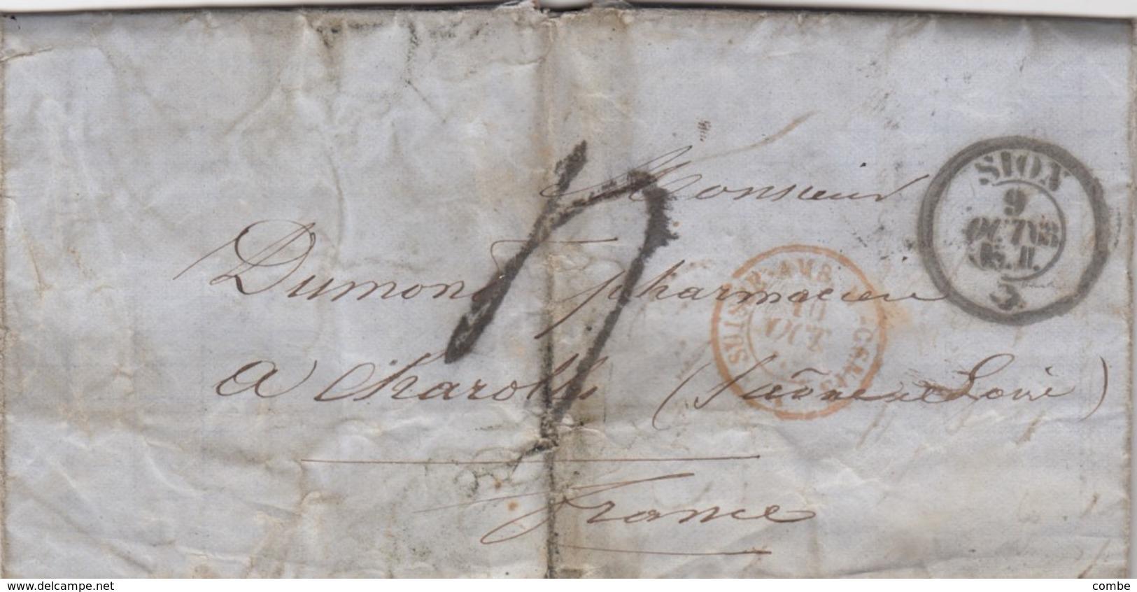 LETTRE COVER.  SUISSE. SION. 9 OCT.1863. POUR CHAROLLES FRANCE. ENTREE SUISSE AMB. M.CENID. TAXE TAMPON 4. PAR GENEVE - Switzerland