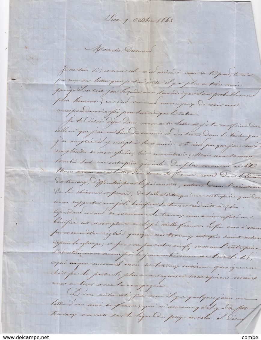 LETTRE COVER.  SUISSE. SION. 9 OCT.1863. POUR CHAROLLES FRANCE. ENTREE SUISSE AMB. M.CENID. TAXE TAMPON 4. PAR GENEVE - ...-1845 Prephilately