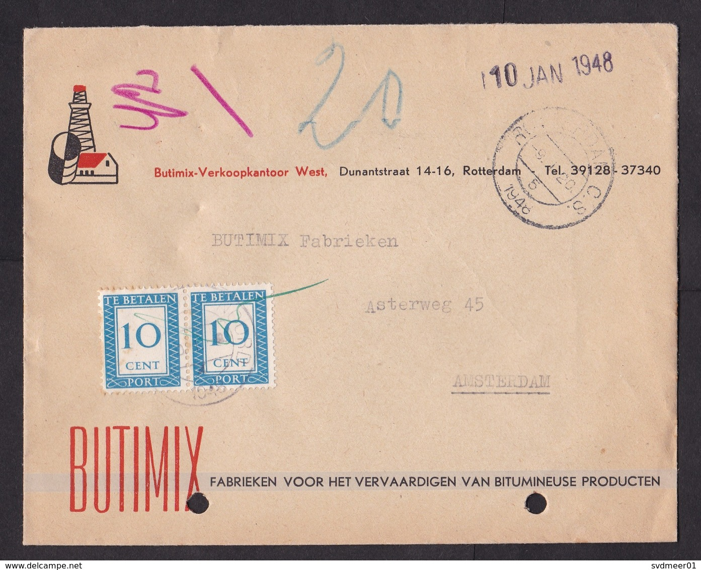 Netherlands: Cover, 1948, 2 Postage Due Stamps, Taxed, 20 Cents To Pay (damaged, See Scan) - Periode 1891-1948 (Wilhelmina)