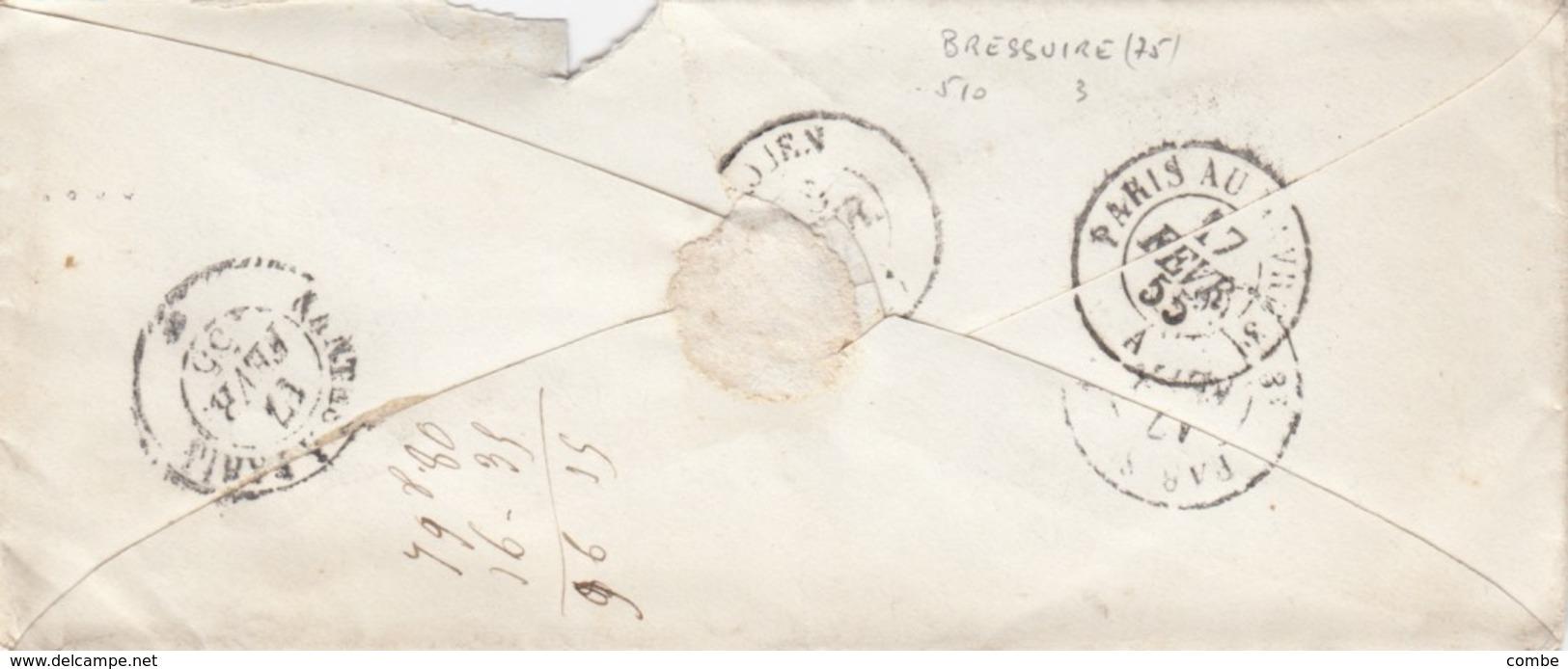 LETTRE. 15 FEVR 1855. DEUX-SEVRES. BRESSUIRE PC 510. 2° ECHELON POUR ROUEN - 1849-1876: Période Classique