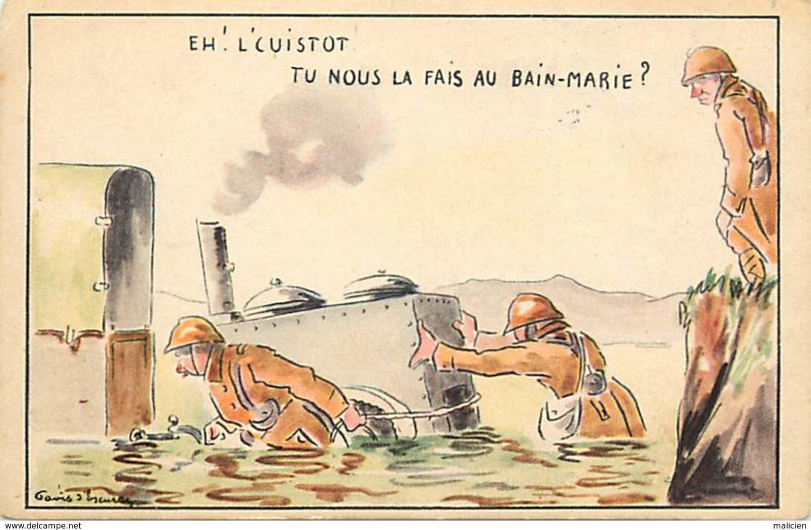 -ref-B545- Militaria - Illustrateurs - Illustrateur Gavis D Escuras - Humoristiques - Humoristique - Cuistot - Materiel - Humoristiques