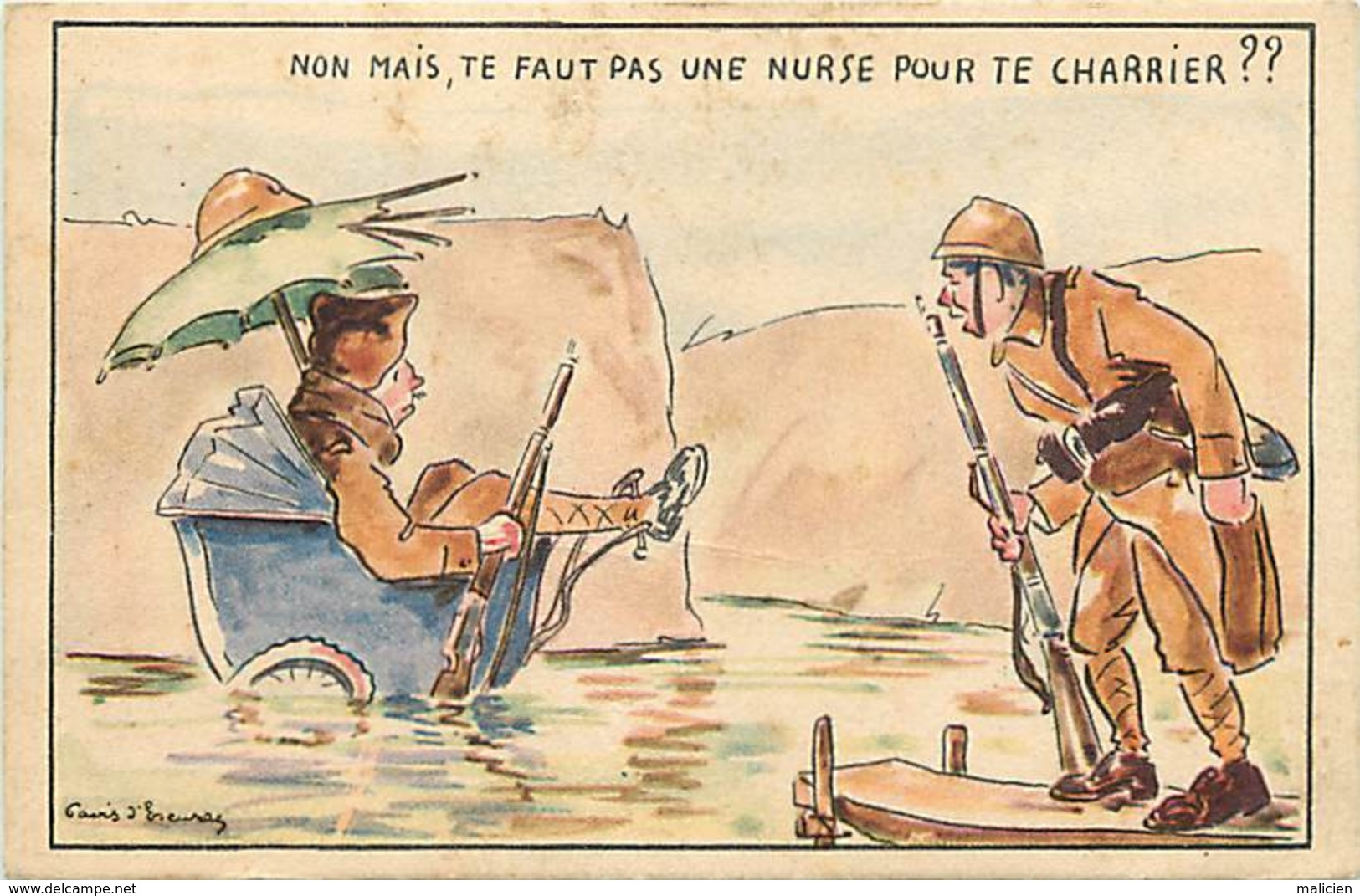 -ref-B544- Militaria - Illustrateurs - Illustrateur Gavis D Escuras - Humoristiques - Humoristique - La Nurse - - Humoristiques