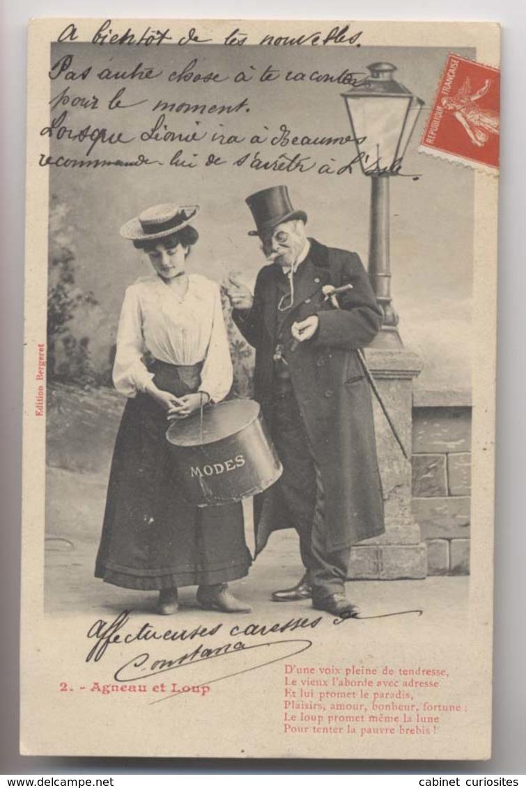 Agneau Et Loup - 2 - Vieux Monsieur Et Jeune Fille - 1909 - Boite à Chapeaux - Bergeret - Animée - Fantasia