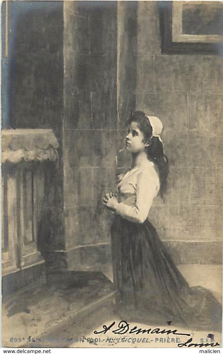 -ref-B514- Arts - Tableaux - Tableau - Peinture - Salon1901 - Peintre Melle Gicquel - Priere - Jeune Femme - Femmes - - Peintures & Tableaux